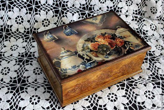"""Кухня ручной работы. Ярмарка Мастеров - ручная работа. Купить Шкатулка """"TEA"""". Handmade. Коричневый, для чайных пакетиков"""