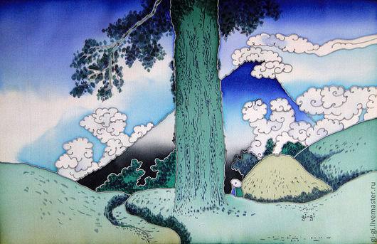 Пейзаж ручной работы. Ярмарка Мастеров - ручная работа. Купить Япония. Большое дерево.. Handmade. Тёмно-синий, гора