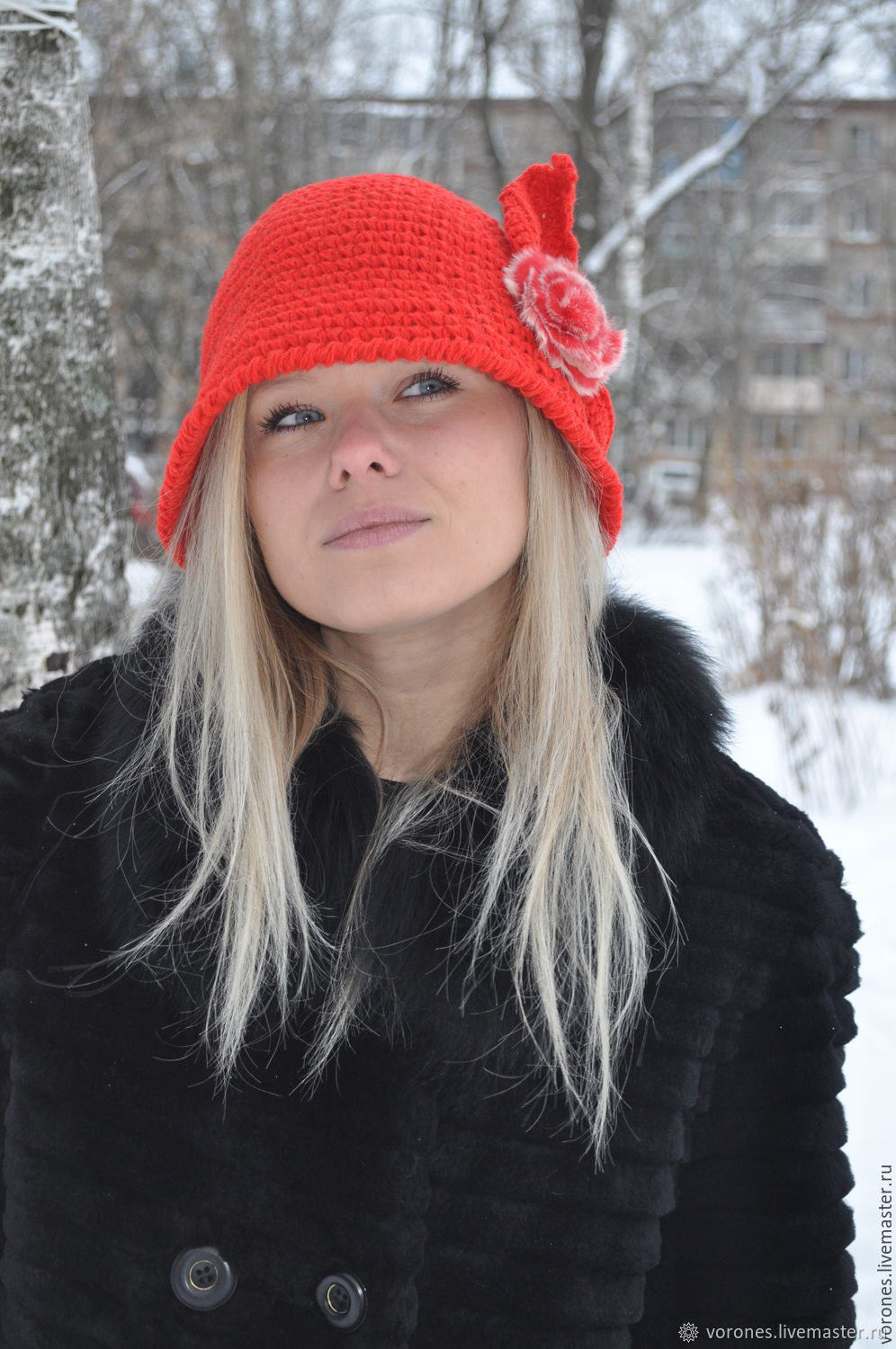 Hat Cloche knit - red, Hats1, Moscow,  Фото №1