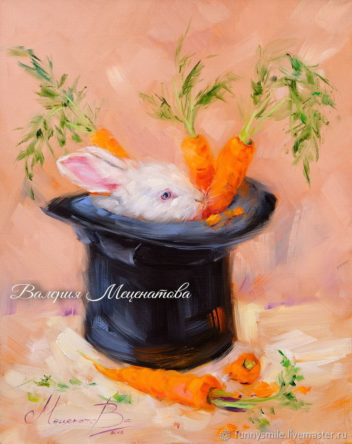 Oil painting on canvas. Carrot magic. Rabbit Cylinder Hatter, Pictures, Moscow, Фото №1
