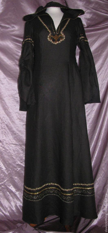 Платья ручной работы. Ярмарка Мастеров - ручная работа. Купить платье черное эльфийское. Handmade. Черный, лён 100%