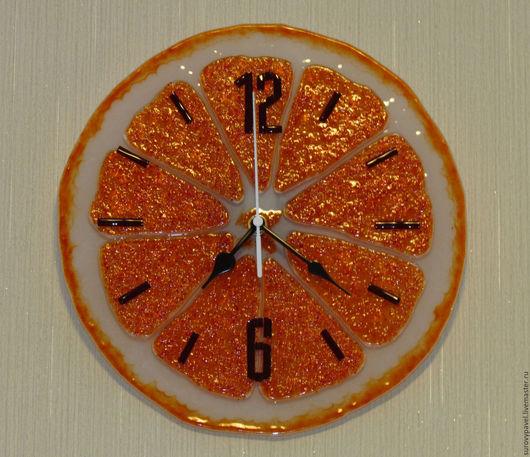 Часы для дома ручной работы. Ярмарка Мастеров - ручная работа. Купить часы из стекла фьюзинг Апельсин. Handmade. Оранжевый