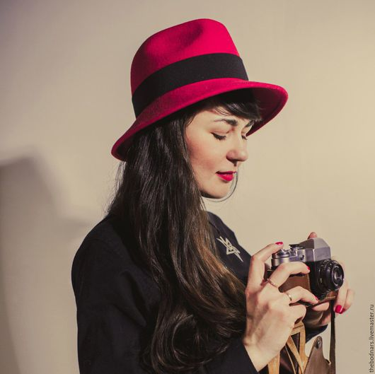 Шляпы ручной работы. Ярмарка Мастеров - ручная работа. Купить Красная шляпа Федора. Handmade. Ярко-красный, шляпка