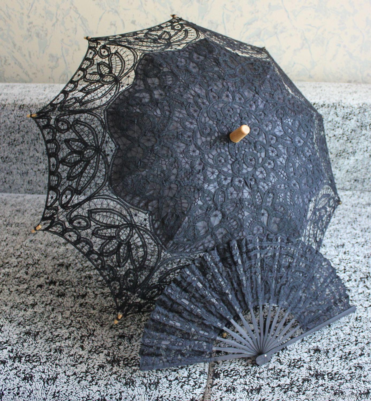 Кружевной зонт №17 Черный, Зонты, Волжский,  Фото №1