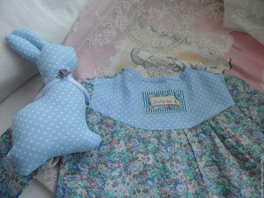 """Одежда для девочек, ручной работы. Ярмарка Мастеров - ручная работа. Купить НОЧНАЯ РУБАШКА  для девочки """"Цветочное облако"""". Handmade. Голубой"""