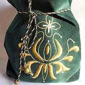 Сувениры и подарки handmade. Livemaster - original item Bag 23h20cm Green velvet Hand Embroidery Christmas gift. Handmade.