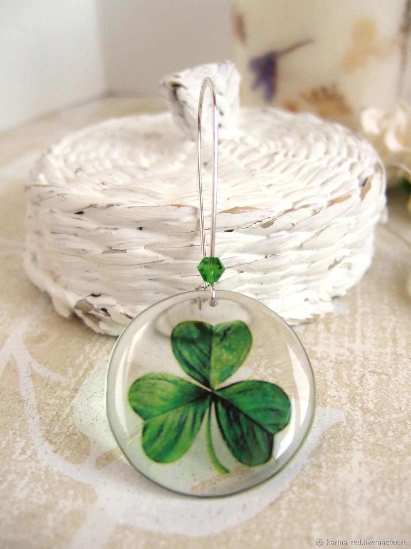 Transparent Earrings Green Clover Shamrock Resin Earrings Eco Boho 2, Earrings, Taganrog,  Фото №1
