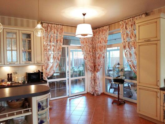 Текстиль, ковры ручной работы. Ярмарка Мастеров - ручная работа. Купить Тюль с цветами для гостиной. Handmade. Бежевый, органза