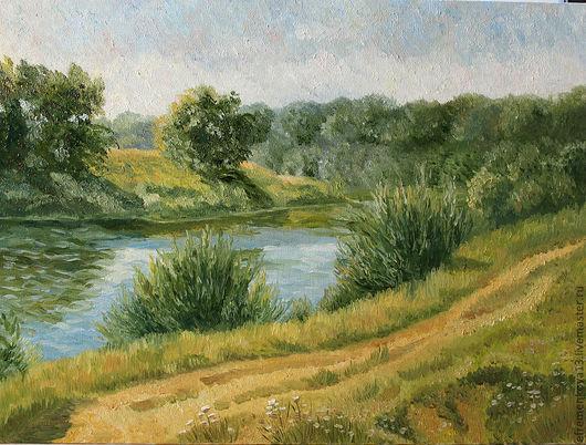 Пейзаж ручной работы. Ярмарка Мастеров - ручная работа. Купить Картина Пейзаж с речкой. Handmade. Зеленый, река, пейзаж, Живопись