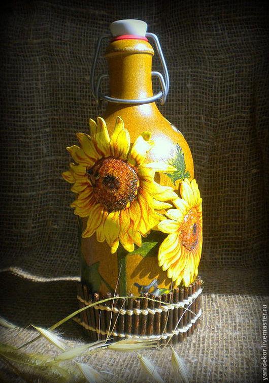 Бутылка декоративная Подсолнухи.Бутылка декупаж. Солнечное украшение для Вашей кухни.