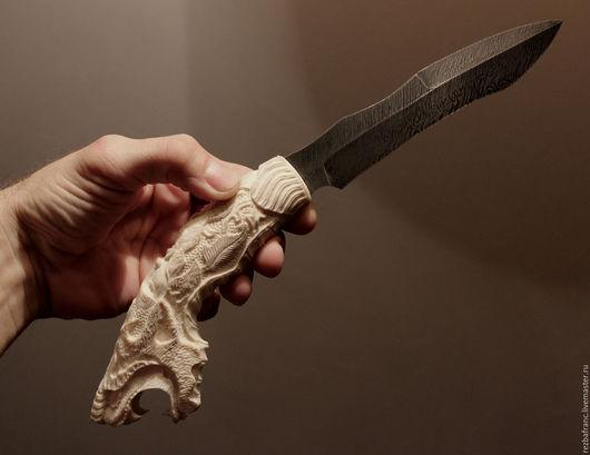 Подарки для мужчин, ручной работы. Ярмарка Мастеров - ручная работа. Купить Нож  Волк (дамаск,рог лося) -подарок мужчине.. Handmade.