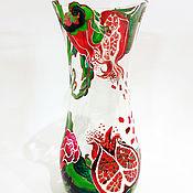Для дома и интерьера ручной работы. Ярмарка Мастеров - ручная работа Роспись стекла Ваза для цветов Гранат. Handmade.