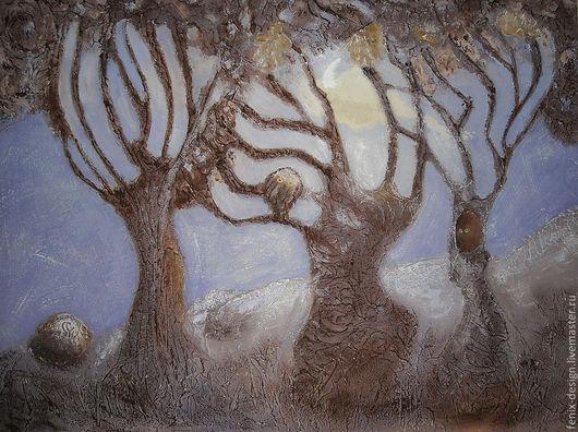 """Пейзаж ручной работы. Ярмарка Мастеров - ручная работа. Купить """"Таинственный лес"""". Handmade. Коллаж, деревья, природа, лес, терра"""