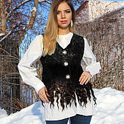 Одежда handmade. Livemaster - original item Felted vest the Night is dark! with fleece. Handmade.