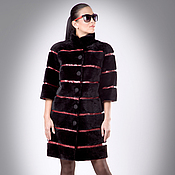 Одежда handmade. Livemaster - original item Beaver fur coat Sheared Transverse Layout Embroidered Leather. Handmade.
