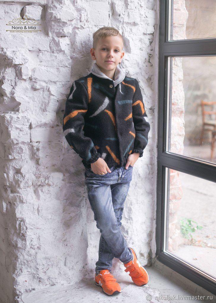 Валяный Бомбер для мальчиков Огни большого города, Одежда для мальчиков, Днепр, Фото №1