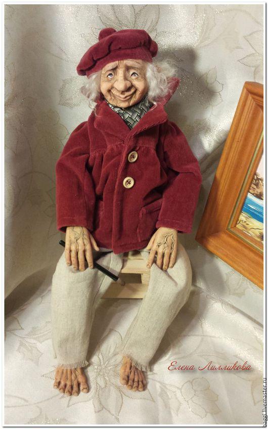 Коллекционные куклы ручной работы. Ярмарка Мастеров - ручная работа. Купить художник интерьерная кукла. Handmade. Разноцветный, старичок