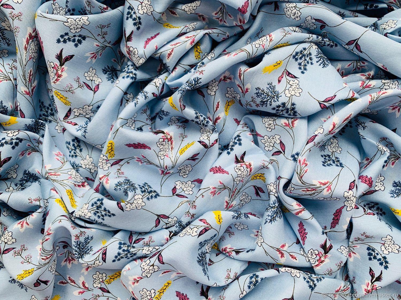 Ткань Плательная Вискоза Цветы на Небесно-Голубом Италия, Ткани, Москва,  Фото №1
