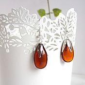 Украшения handmade. Livemaster - original item Earrings Silver Drops Rainbow Colored Glass Brown Transparent. Handmade.