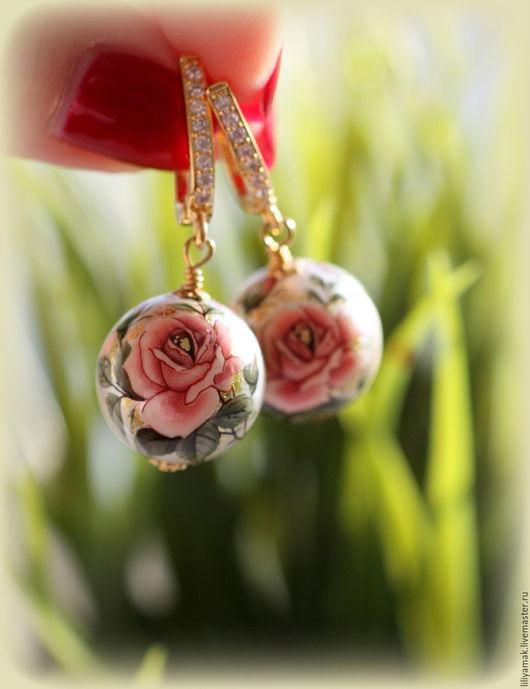 """Серьги ручной работы. Ярмарка Мастеров - ручная работа. Купить Серьги """"Дивная роза"""" японские бусины Тенша. Handmade. Бежевый"""