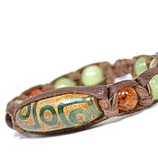 Фен-шуй и эзотерика handmade. Livemaster - original item Bracelet with bead DZI, amber, onyx, sardonyx leather. Handmade.