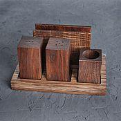 Салфетницы ручной работы. Ярмарка Мастеров - ручная работа Комплект с солонкой, перечницей и подставкой для зубочисток. Handmade.