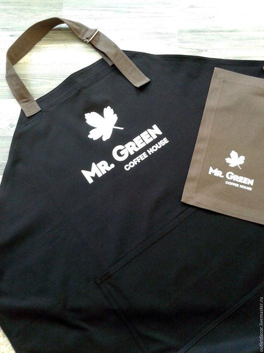 Кухня ручной работы. Ярмарка Мастеров - ручная работа. Купить Фартук черный джинсовый с вашим логотипом. Handmade. Черный, фартук