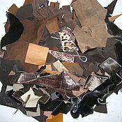 Материалы для творчества ручной работы. Ярмарка Мастеров - ручная работа набор натуральной коричневой кожи с мехом  для творчества. Handmade.