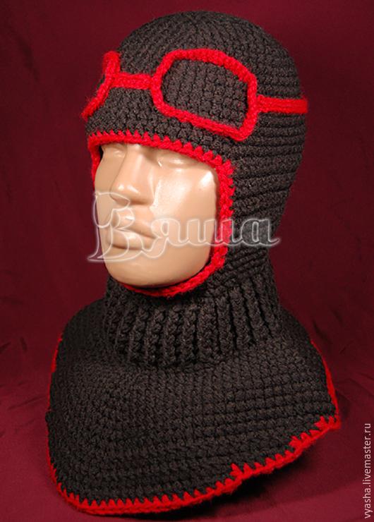 Шапки и шарфы ручной работы. Ярмарка Мастеров - ручная работа. Купить Шапка-шлем Лётчик вязаная для мальчиков, детская, зимняя. Handmade.