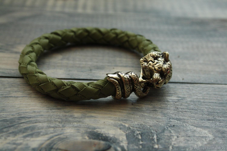 Кожаный браслет с тигром, Браслет из бусин, Волгоград,  Фото №1