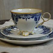 Винтаж handmade. Livemaster - original item Three tea. Porcelain. GDR.. Handmade.
