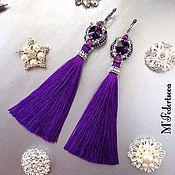 """Серьги-кисти ручной работы. Ярмарка Мастеров - ручная работа Серьги-кисти """"Violett"""", фиолетовые длинные серьги с английским замком. Handmade."""
