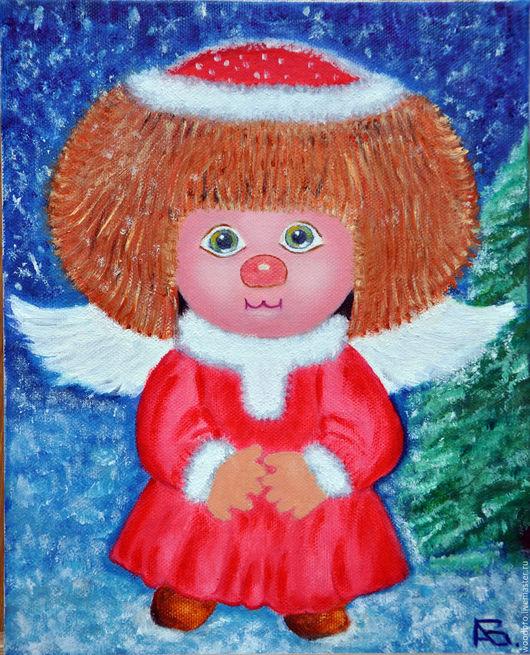 Люди, ручной работы. Ярмарка Мастеров - ручная работа. Купить Снежный ангел, картина маслом. Handmade. Ангел, Снежный ангел