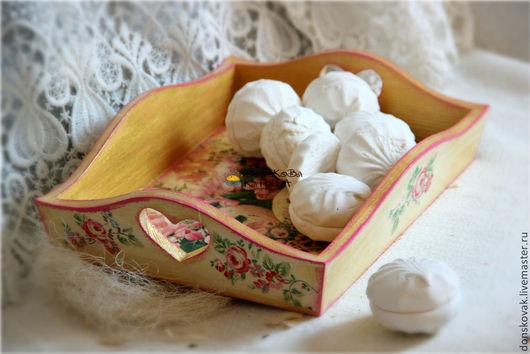 """Кухня ручной работы. Ярмарка Мастеров - ручная работа. Купить Деревянный поднос """"Нежность"""". Handmade. Розовый, поднос деревянный, для конфет"""