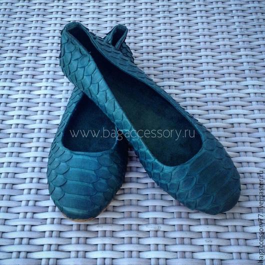 Обувь ручной работы. Ярмарка Мастеров - ручная работа. Купить Балетки из натуральной кожи питона. Handmade. Болотный