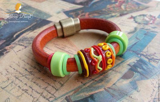"""Браслеты ручной работы. Ярмарка Мастеров - ручная работа. Купить Кожаный браслет регализ """"Моя история"""". Handmade. Комбинированный"""