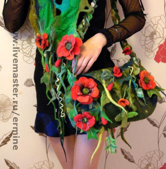 Handbags handmade. Livemaster - handmade. Buy handbag 'Poppies'.Bag, floral, small handbag, chiffon, fiber