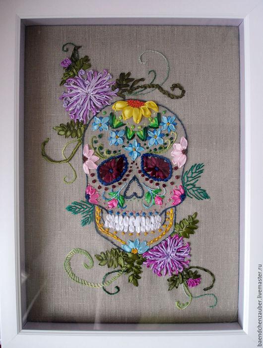 """Символизм ручной работы. Ярмарка Мастеров - ручная работа. Купить Картина """"sugar skull"""" (сахарный череп). Handmade. Комбинированный, сукно"""