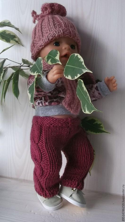 """Одежда для кукол ручной работы. Ярмарка Мастеров - ручная работа. Купить Вязаные штанишки для Бебика """" Жгуты"""". Handmade. Бордовый"""