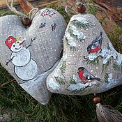 Подарки к праздникам handmade. Livemaster - original item Linen Christmas toys in the bag.Snowy winter.Painting.. Handmade.