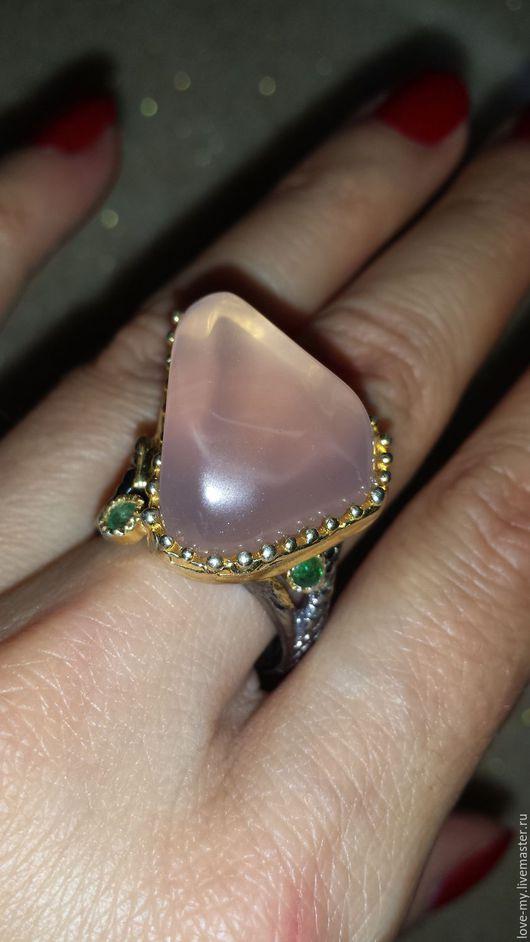 Кольца ручной работы. Ярмарка Мастеров - ручная работа. Купить SALE Desert rose Розовый кварц, кольцо серебро 925. Handmade.