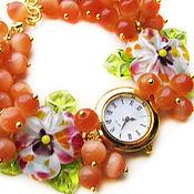 """Украшения ручной работы. Ярмарка Мастеров - ручная работа """"Яркая осень"""" часы с бусинами лэмпворк. Handmade."""