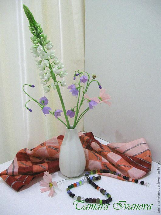 Искусственные растения ручной работы. Ярмарка Мастеров - ручная работа. Купить Люпин. Handmade. Белый, букет