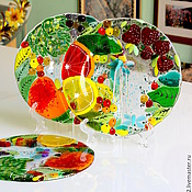 Посуда ручной работы. Ярмарка Мастеров - ручная работа тарелочка из стекла, фьюзинг  Гурман. Handmade.