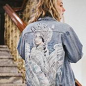 Одежда handmade. Livemaster - original item Denim jacket with print Swan Princess. painted clothing. Handmade.