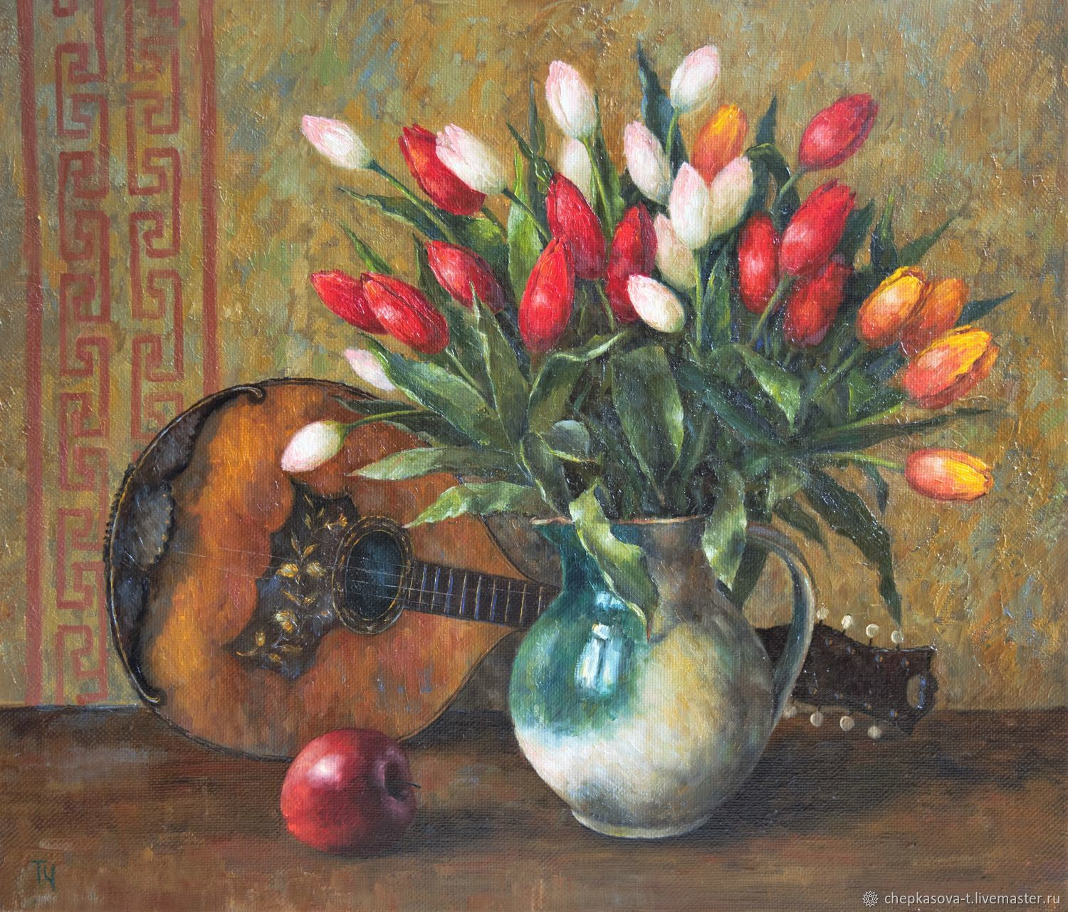 Oil painting tulips and mandolin