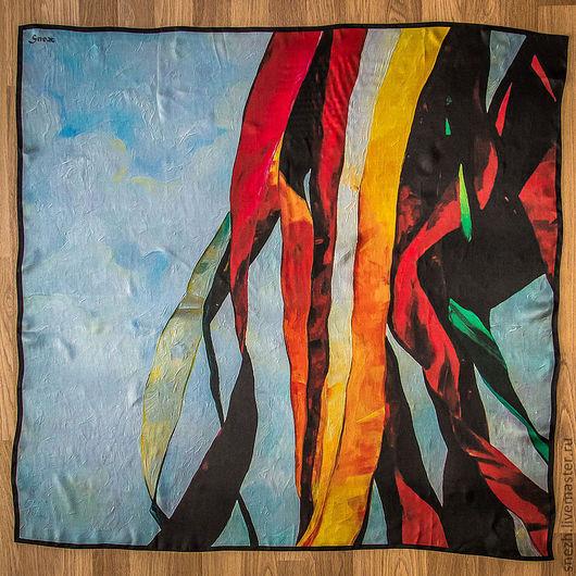 Шарфы и шарфики ручной работы. Ярмарка Мастеров - ручная работа. Купить Шелковый платок «Небо Тибета». Handmade. Рисунок, шелк