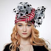 Аксессуары handmade. Livemaster - original item Striped convertible red-white turban hijab hat. Handmade.