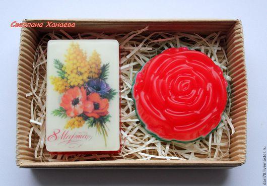 """Мыло ручной работы. Ярмарка Мастеров - ручная работа. Купить Набор мыла """"8 Марта"""". Подарок на 8 Марта. Цветы.. Handmade."""