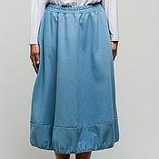 Одежда ручной работы. Ярмарка Мастеров - ручная работа Юбка-баллон джинсовая небесно-голубая. Handmade.